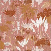 Natur dzsungel sötét rózsaszín fehér aranybarna csillogó fémes fény tapéta