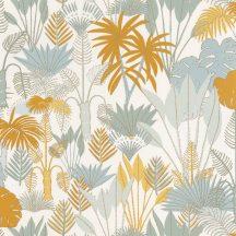 Natur dzsungel fehér meleg sárga világoskék szürkésbézs csillogó fémes fény tapéta