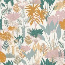 dzsungel krémfehér zöld narancs rózsaszín világoskék csillogó fémes fény tapéta