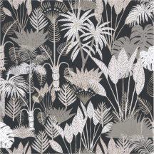 PHILIPPINES Natur dzsungel fekete szürke szürkésbarna fehér csillogó fémes fény tapéta