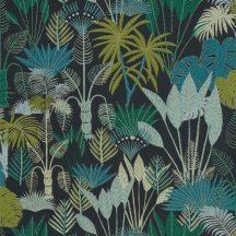 PHILIPPINES Natur dzsungel mélykék zöld árnalatok bézs csillogó fémes fény tapéta