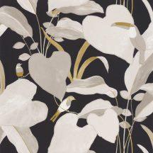 dzsungel levélzete egzotikus madarakkal fekete bézs krémfehér arany tapéta