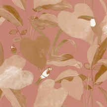 dzsungel levélzete egzotikus madarakkal sötét rózsaszín barna arany tapéta
