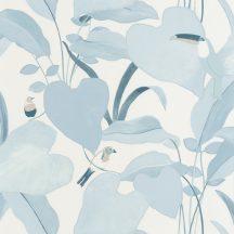 dzsungel levélzete egzotikus madarakkal fehér világoskék bézs kék tapéta