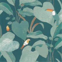AMAZONIA Natur dzsungel levélzete egzotikus madarakkal kékeszöld zöld fehér szines tapéta
