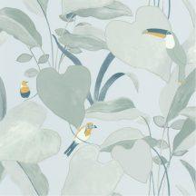 dzsungel levélzete egzotikus madarakkal szürkésfehér kék zöldes szürke sárga tapéta