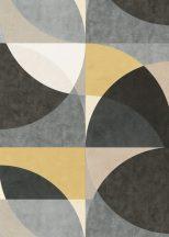 Erismann ELLE Decoration 10150-15 Geometrikus Grafikus nagyformátumú körminta fehér krém bézs sárga szürke fekete tapéta