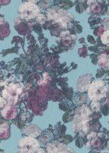 Erismann ELLE Decoration 10153-18 Natur  virágözön barokk stílusú akvarell rózsák türkiz kék zöld lila fehér csillogó mintarészletek tapéta