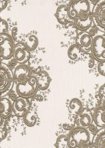 Erismann ELLE Decoration 10154-02 Neoklasszikus hímzett barokk díszítőminta bézs arany csillogó mintarészletek tapéta