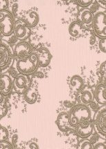 Erismann ELLE Decoration 10154-05 Neoklasszikus hímzett barokk díszítőminta rózsaszín arany csillogó mintarészletek tapéta