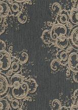 Erismann ELLE Decoration 10154-15 Neoklasszikus hímzett barokk díszítőminta fekete arany csillogó mintarészletek tapéta