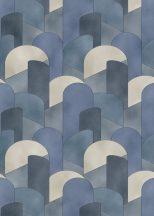 Erismann ELLE Decoration 10155-08 Geometrikus 3D hatású grafikus ívelt minta kék szürke bézs csillogó mintarészletek tapéta