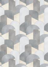 Erismann ELLE Decoration 10155-10 Geometrikus 3D hatású grafikus ívelt minta bézs szürke ezüst arany csillogó mintarészletek tapéta
