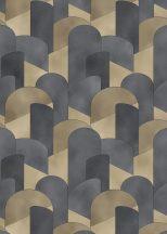 Erismann ELLE Decoration 10155-15 Geometrikus 3D hatású grafikus ívelt minta sötétszürke antracit arany csillogó mintarészletek tapéta