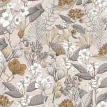 Caselio Flower Power 101851099 MAY Csodás virágdekor hónapról hónapra Május Réti füvek virágok bézs szürke aranybarna fehér tapéta