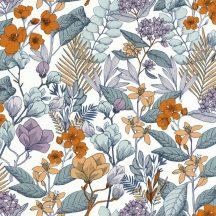 Caselio Flower Power 101855060  MAY Csodás virágdekor hónapról hónapra Május Réti füvek virágok fehér kék narancs lila tapéta