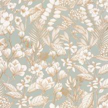 Casadeco Flower Power 101857024 MAY Csodás virágdekor hónapról hónapra Május Réti füvek virágok világos vízzöld arany fehér tapéta