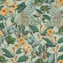 Caselio Flower Power 101857129 MAY Csodás virágdekor hónapról hónapra Május Réti füvek virágok világoszöld smaragdzöld arany sárga tapéta