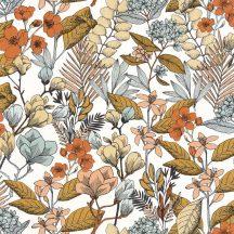 Caselio Flower Power 101857241 MAY Csodás virágdekor hónapról hónapra Május Réti füvek virágok fehér szürke fekete okker narancs tapéta