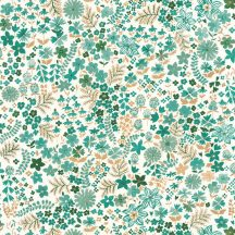 Casadeco Flower Power 101867126 JUNE Csodás virágdekor hónapról hónapra Június elbűvölő angol kert fehér zöld smaragd arany tapéta