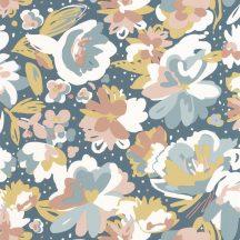 Caselio Flower Power 101876041 JULY Csodás virágdekor hónapról hónapra Július Vintage skandináv virágok kék fehér rózsaszín sárga tapéta