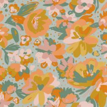 Casadeco Flower Power 101877023 JULY Csodás virágdekor hónapról hónapra Július Vintage skandináv virágok vízkék okker korall zöld tapéta