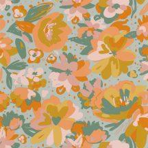 Caselio Flower Power 101877023 JULY Csodás virágdekor hónapról hónapra Július Vintage skandináv virágok vízkék okker korall zöld tapéta