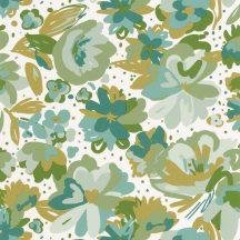 Caselio Flower Power 101877175 JULY Csodás virágdekor hónapról hónapra Július Vintage skandináv virágok fehér kék smaragd barna tapéta