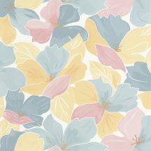 Caselio Flower Power 101886042 AUGUST  Csodás virágdekor hónapról hónapra Augusztus Virágoázis fehér kék rózsaszín arany tapéta