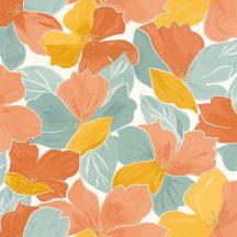 Casadeco Flower Power 101887023  AUGUST  Csodás virágdekor hónapról hónapra Augusztus Virágoázis fehér vízzöld okker korall tapéta
