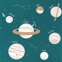 """Caselio Our Planet 101906011 UNIVERSE Gyerekszobai Világegyetem""""kicsiben"""" petrol bézs fehér tapéta"""