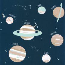 """Caselio Our Planet 101906906 UNIVERSE Gyerekszobai Világegyetem""""kicsiben"""" kék bézs szürke fehér tapéta"""
