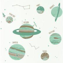 """Caselio Our Planet 101907102 UNIVERSE Gyerekszobai Világegyetem""""kicsiben"""" fehér vízzöld bézs barna tapéta"""