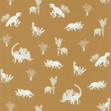 Caselio Our Planet 101932121 JURASSIC WORLD Gyerekszobai Dinoszauruszok világa okkersárga fehér tapéta