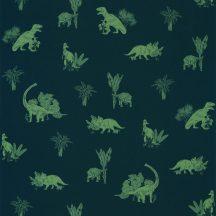 Caselio Our Planet 101936900 JURASSIC WORLD Gyerekszobai Dinoszauruszok világa éjkék khakizöld tapéta