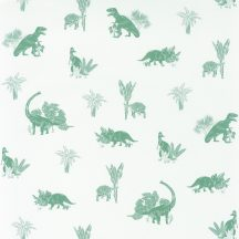 Caselio Our Planet 101937105 JURASSIC WORLD Gyerekszobai Dinoszauruszok világa fehér zöld szürkészöld tapéta