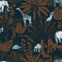 Caselio Our Planet 101956915 JUNGLE TRIP Gyerekszobai a dzsungel és állatai éjkék teveszőrbarna fehér tapéta