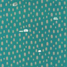 Caselio Our Planet 101976029 SUMMER CAMP Gyerekszobai Nyári tábor a fenyőerdőben türkizkék bézs szürke fehér tapéta