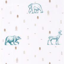 Caselio Our Planet 101986009 GRIZZLY BEARS Gyerekszobai Grizzlyk és szarvasok fehér bézs farmerkék tapéta