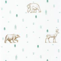 Caselio Our Planet 101987112 GRIZZLY BEARS Gyerekszobai Grizzlyk és szarvasok fehér bézs vízzöld/szürkészöld tapéta