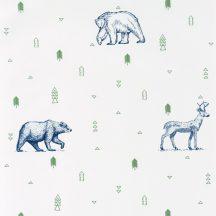 Caselio Our Planet 101987403 GRIZZLY BEARS Gyerekszobai Grizzlyk és szarvasok fehér khakizöld éjkék tapéta