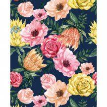Casadeco Flower Power 102026043 BLOSSOM Költői virág panoráma sötétkék szines falpanel