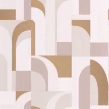 """Casadeco Labyrinth 102081028 DOORS Geometrikus fantáziadús """"labirintus"""" minta krém halvány rózsaszín bézs szürkésbézs arany tapéta"""
