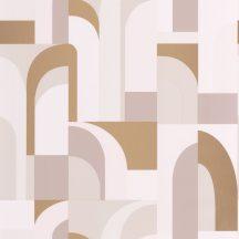 """Caselio Labyrinth 102081028 DOORS Geometrikus fantáziadús """"labirintus"""" minta krém halvány rózsaszín bézs szürkésbézs arany tapéta"""