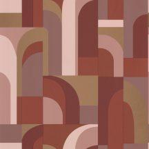 "Casadeco Labyrinth 102084045  DOORS Geometrikus fantáziadús ""labirintus"" minta terrakotta bézs barna arany tapéta"