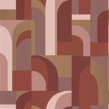 "Caselio Labyrinth 102084045  DOORS Geometrikus fantáziadús ""labirintus"" minta terrakotta bézs barna arany tapéta"