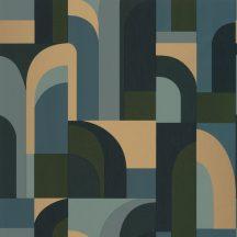 "Casadeco Labyrinth 102086072  DOORS Geometrikus fantáziadús ""labirintus"" minta kék khaki zöld arany tapéta"