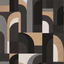 """Casadeco Labyrinth 102089021  DOORS Geometrikus fantáziadús """"labirintus"""" minta krémfehér szürke szürkésbarna fekete arany tapéta"""