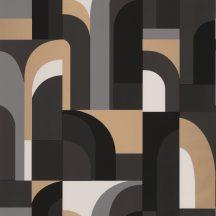 """Caselio  Labyrinth 102089021  DOORS Geometrikus fantáziadús """"labirintus"""" minta krémfehér szürke szürkésbarna fekete arany tapéta"""
