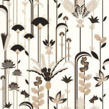 """Caselio Labyrinth 102090020 EPHEMERAL Natur Tiszavirág stilizált levelek """"útvesztőjében"""" krémfehér bézs arany fekete tapéta"""